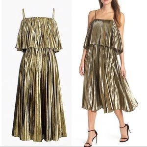 NWT J.CREW Collection Gold Lamé Pleated Midi Dress